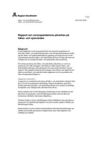 Coronaeffekter på hälso- och sjukvården, rapport till HSN