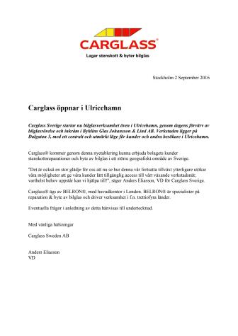 Carglass öppnar i Ulricehamn