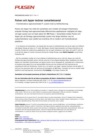 Pulsen och Apper tecknar samarbetsavtal - Framtidssäkrar egenutvecklade IT-system med ny helhetslösning