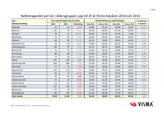 Vismas rapport över nyföretagandet bland unga första halvåret 2014