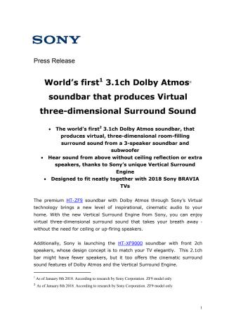 Verdens første Dolby Atmos soundbar med virtuel, 3D surroundlyd