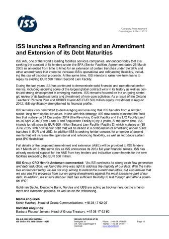 ISS launches a Refinancing and an Amendment and Extension of its Debt Maturities