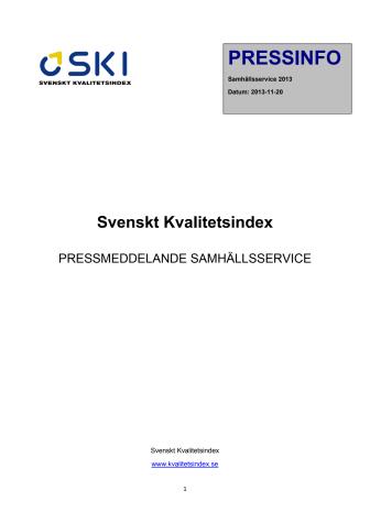 Svenskt Kvalitetsindex om Samhällsservice 2013