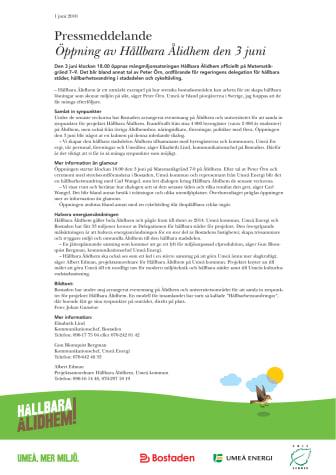 Öppning av Hållbara Ålidhem den 3 juni