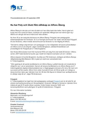 Nu har Poly och Glutt fått sällskap av Alfons Åberg