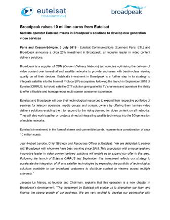 Broadpeak raises 10 million euros from Eutelsat