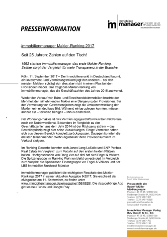 immobilienmanager Makler-Ranking 2017