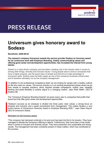 Universum gives honorary award to Sodexo