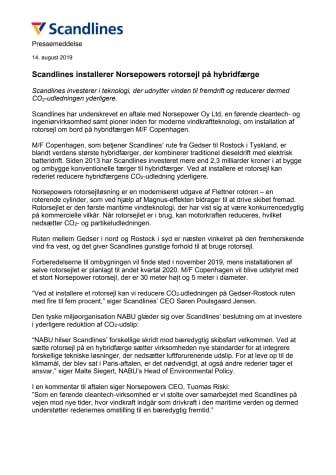 Scandlines installerer Norsepowers rotorsejl på hybridfærge