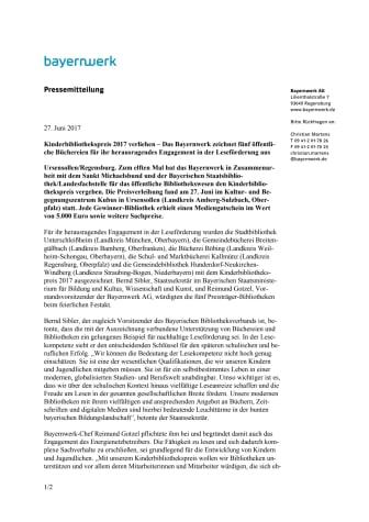 Kinderbibliothekspreis 2017 verliehen – Das Bayernwerk zeichnet fünf öffentliche Büchereien für ihr herausragendes Engagement in der Leseförderung aus