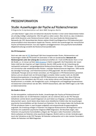 Studie: Auswirkungen der Psyche auf Rückenschmerzen - Erfolgreiche Erstpräsentation auf dem BMC Kongress Berlin