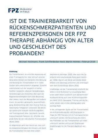 """Handout zur Studie """"Ist die Trainierbarkeit von Rückenschmerzpatienten und Referenzpersonen der FPZ Therapie abhängig von Alter und Geschlecht des Probanden?"""""""