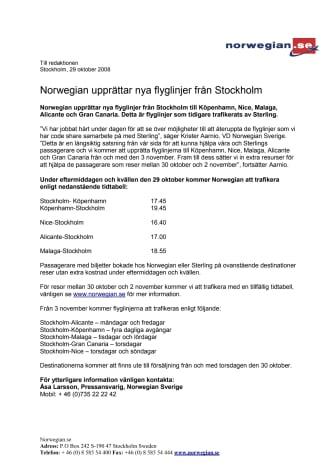 Norwegian upprättar nya flyglinjer från Stockholm