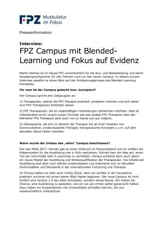 Interview:  FPZ Campus mit Blended-Learning und Fokus auf Evidenz