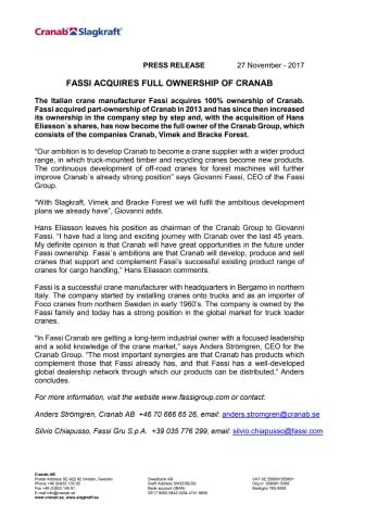 FASSI ACQUIRES FULL OWNERSHIP OF CRANAB
