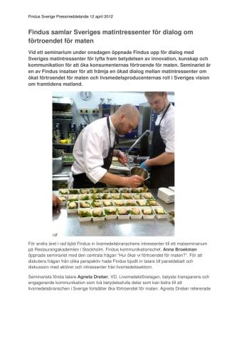 Findus samlar Sveriges matintressenter för dialog om förtroende för maten