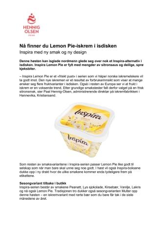 Nå finner du Lemon Pie-iskrem i isdisken
