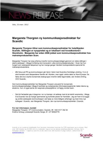 Margareta Thorgren ny kommunikasjonsdirektør for Scandic