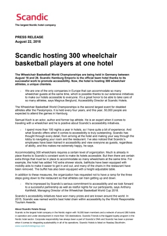 Scandic hosting 300 wheelchair basketball players at one hotel