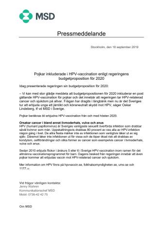 Pojkar inkluderade i HPV-vaccination enligt regeringens budgetproposition för 2020
