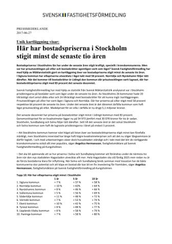 Unik kartläggning visar: Här har bostadspriserna i Stockholm  stigit minst de senaste tio åren
