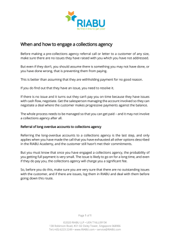 RIABU - When and how to engage a collections agency