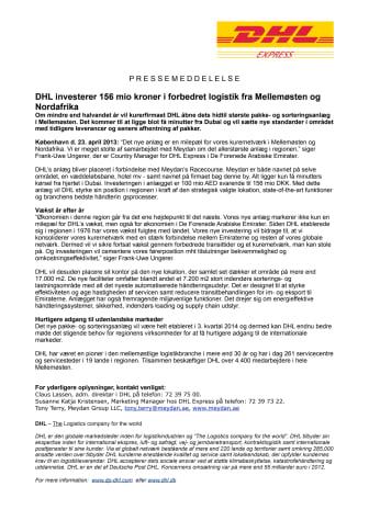 DHL investerer 156 mio kroner i forbedret logistik fra Mellemøsten og Nordafrika