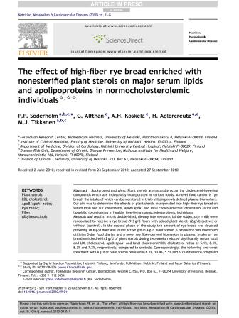 Studie om bl a växtsteroler - Nutrition, Metabolism & Cardiovascular Diseases (2010),