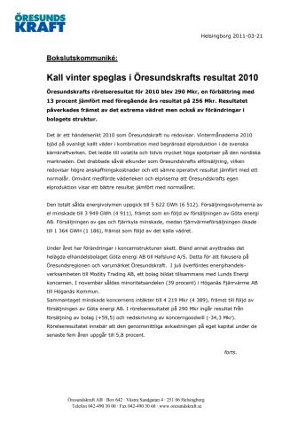 Kall vinter speglas i Öresundskrafts resultat 2010