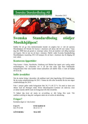 Svenska Standardbolag stödjer Musikhjälpen!