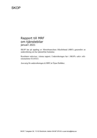 SKOP - undersökning om tjänstebil - bilaga pressmeddelande