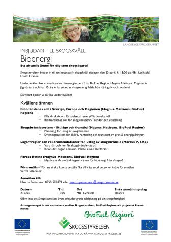 Program för skogsbränsleseminarie i Lycksele