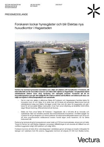 Pressmeddelande_Forskaren lockar hyresgäster och blir Elektas nya huvudkontor i Hagastaden.pdf