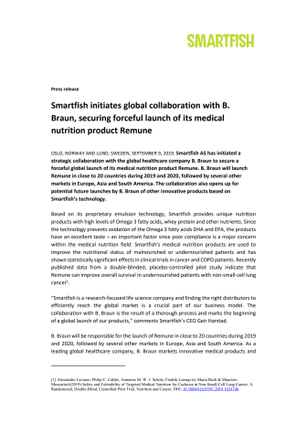 Smartfish initiates global collaboration with B. Braun, securing forceful launch of its medical nutrition product Remune