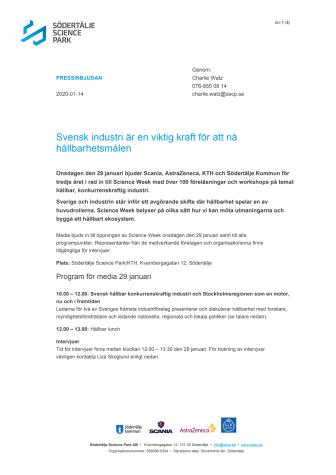 Påminnelse pressinbjudan Science Week: Svensk industri är en viktig kraft för att nå hållbarhetsmålen