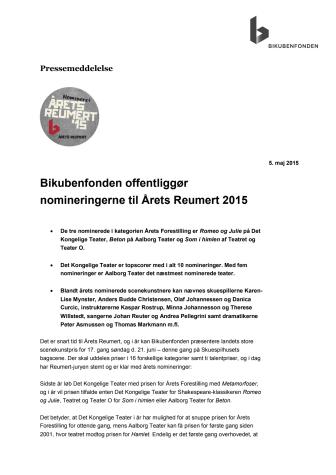 Bikubenfonden offentliggør nomineringerne til Årets Reumert 2015