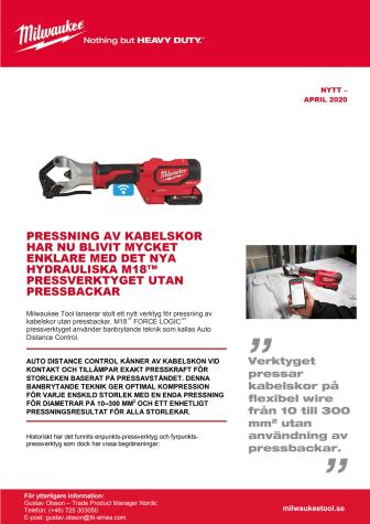 NYTT HYDRAULISKT M18™ PRESSVERKTYG UTAN PRESSBACKAR