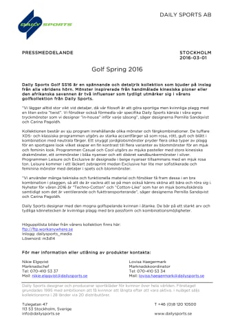 Golf Spring 2016