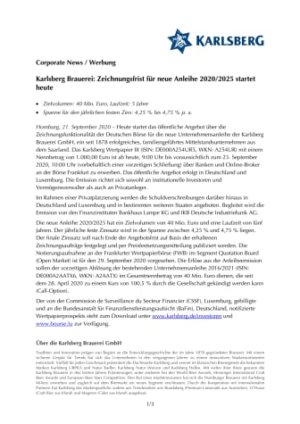 Karlsberg Brauerei: Zeichnungsfrist für neue Anleihe 2020/2025 startet heute