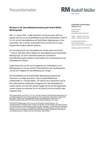 Wechsel in der Geschäftsbereichsleitung der Rudolf Müller Mediengruppe