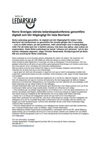 Norra Sveriges viktigaste ledarskapskonferens genomförs digitalt och blir tillgängligt för hela Norrland