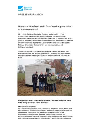 Deutsche Glasfaser stellt Glasfaserhauptverteiler in Rothwesten auf