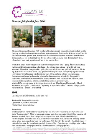 Blomsterfrämjandet firar 50 år - Kerstin Ahlvin berättar