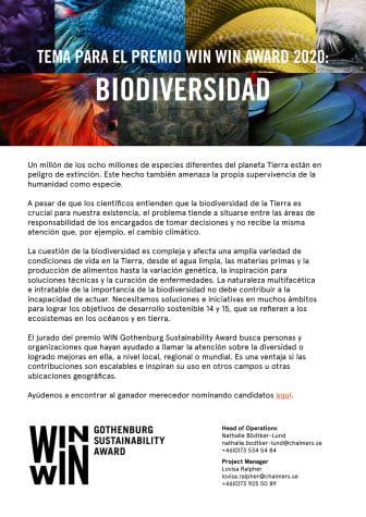 Tema para el premio WIN WIN Award 2020: Biodiversidad