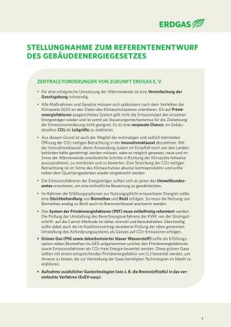 Stellungnahme zum Referentenentwurf des Gebäudeenergiegesetzes