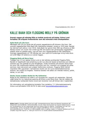 Kalle Baah och Flogging Molly på Grönan