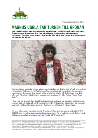 Magnus Uggla tar turnén till Grönan