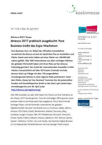 dmexco 2017 praktisch ausgebucht: Pure Business treibt das Expo-Wachstum