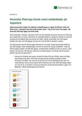 Hemnets iPad-app femte mest nedladdade i App store