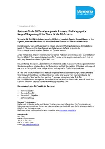 Bestnoten für die BU-Versicherungen der Barmenia: Die Ratingagentur Morgen&Morgen vergibt fünf Sterne für alle BU-Produkte
